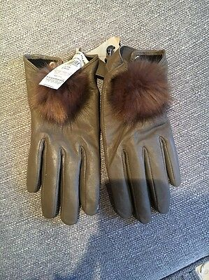 River Island Real Leather Ladies S/M Gloves With Fluffy Ball
