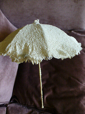 Fine Antique Parasol, Silk And Irish Crochet Canopy And Folding Handle
