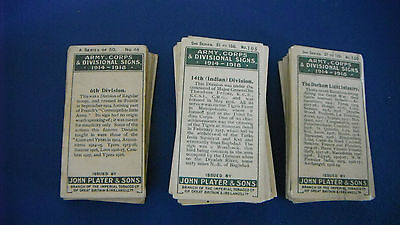 CIGARETTE CARDS ~ PLAYERS ~ ARMY CORPS & SIGNS x 119
