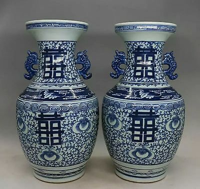 7.5kg Happy character of blue+ white porcelain vase a pair of late qing dynasty.