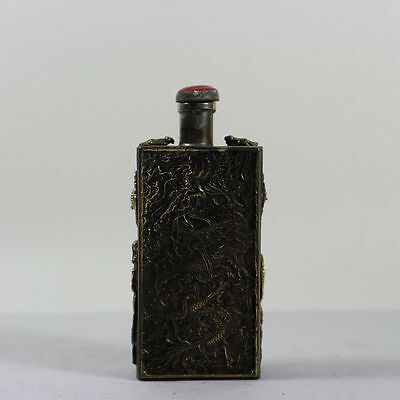 collectible old china copper noble snuff bottle carved royal dragon Phoenix