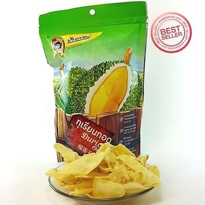 DURIAN CHIPS DELICIOUS NATURAL  THAILAND fruit SNACK  OTOP VEGETABLE food RELAX