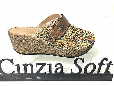 Cinzia Soft Pantofola Donna Comode Colore Beige Zeppa 6 Cm Made In Italy