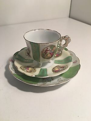 Vintage Japanese Gold Gilded Porcelain Trio / Cup and Saucer High Tea