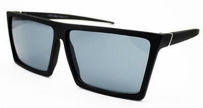 Large Black Square Flat Top Retro Black Lens Frame Sunglasses 80s VTG Geometric