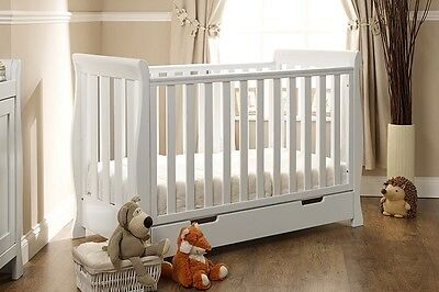 Obaby Lincoln Mini Sleigh Cotbed/Drawer in White Solid Wood