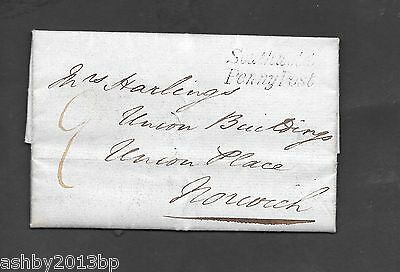 Suffolk 1838 Entire To Norwich Good To Fine Southwold/penny Post Bcc Sk 311