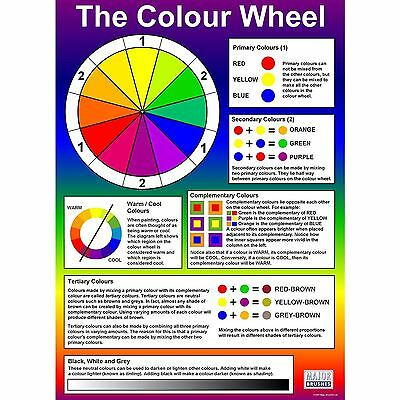 Large  A1 Colour Wheel & Mixing Wall Chart Teach Colours Painting Class KS1