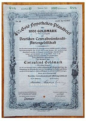1.ooo GoldMarks Bond issued in 1937 by Berlin stadt