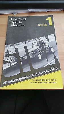 Brisca F1 Stock Car Sheffield Stadium Programme September 1978