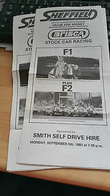Brisca F1 Stock Car Sheffield Stadium Programme September 5Th 1983