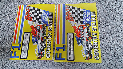 BRISCA F1 STOCK CAR COVENTRY PROGRAMME x 2 1986 OCT NOV