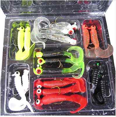 17 Pcs / Set Fishing Lure Jig Head Hook Soft Baits Worms Silicone Lures