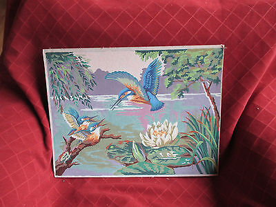 1959 painting of kingfishers in lakeside setting