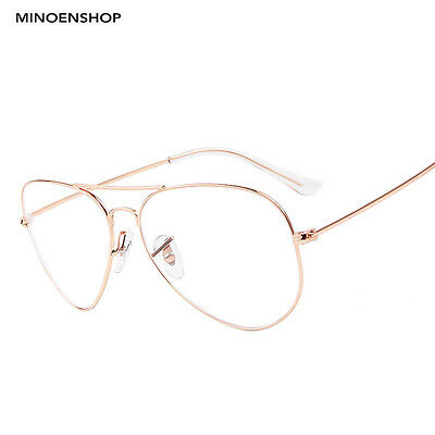 Rose Gold Clear Lens Metal Tear Drop Pilot Glasses Fashion Frame Men Ladies