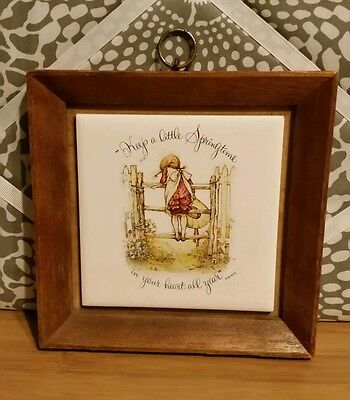 Holly Hobbie Tile Timber Frame 'Keep a little springtime in your heart all year'