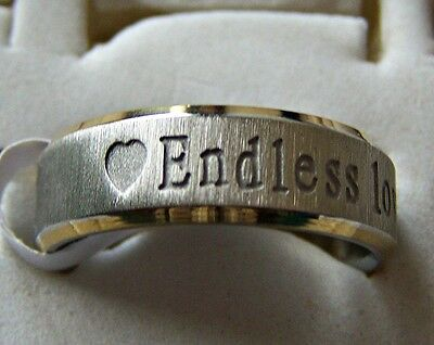 ENDLESS _ LOVE  ~ 7mm ~  S/STEEL ~ SIZE:7 ~ GOLD ~ RING -- (GREAT_CHRISTMAS_GIFT