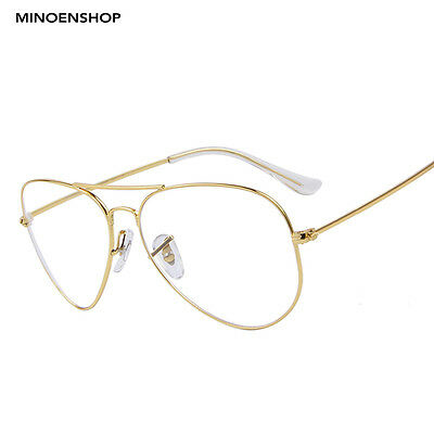 Classic Gold Frame Clear Lens Metal Pilot Glasses Fashion Retro Trendy Eyewear