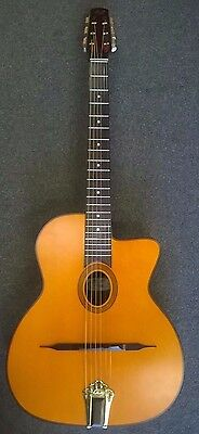 """Aria MM20 """"gypsy jazz"""" acoustic guitar, small oval sound hole, solid top, new!"""