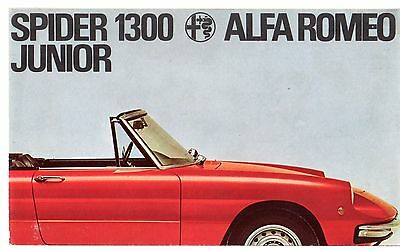 Alfa Romeo Spider 1300 Junior 1969 UK Market Foldout Sales Brochure