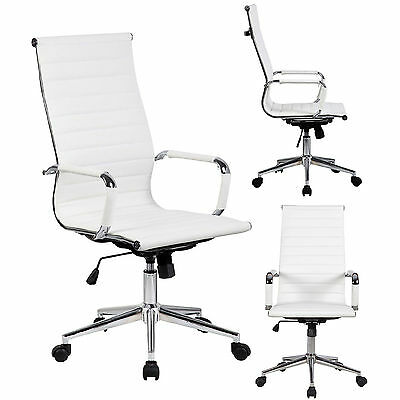 Tall Executive White PU Leather Ribbed Office Desk Chair High Back wfb