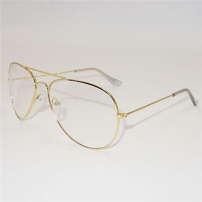 Vintage Classic Fashion Pilot Sunglasses Clear Lens Glasses Teardrop Geek New