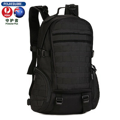 35L Camping Bags Water-Resistant Molle Backpack Military 3P Gym School black