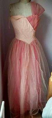 Vintage 1950s pink tulle ballgown