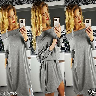 Fashion Womens Off Shoulder Long Sleeve Dress Casual Evening Party Mini Dress