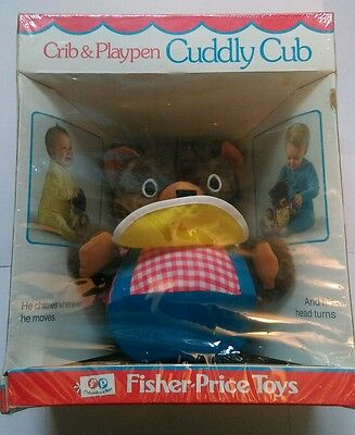 Vintage 1973 Fisher Price 719 Cuddly Cub Chime Bear Stuffed Animal Musical Toy