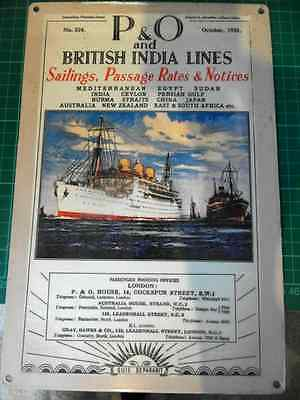 P&O and British India Lines, 1935 ,Vintage retro collectable wall plaque