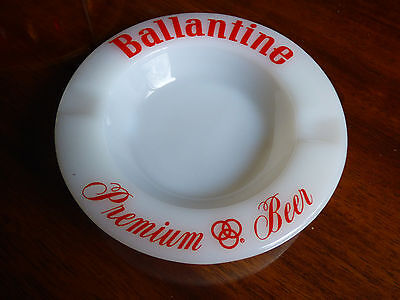 Ballantine Beer & Ale Premium Beer Brewery Round Milk Glass Ashtray Made in USA