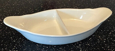"11"" Twin Sided White Serving Double Veg Dish 2 Part Divider Vegetable Side Bowl"