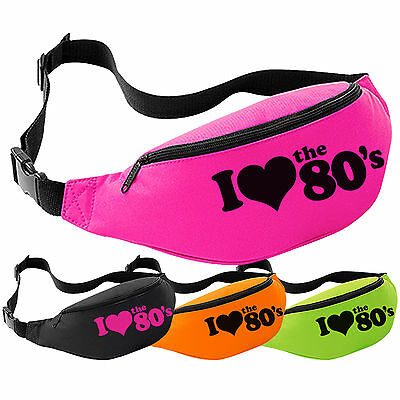 I Love The 80's Bum Bag - 80s Fancy Dress Retro Neon Party Festival Pack Waist