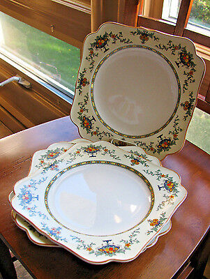CROWN DUCAL WARE A1476 URN & FLORAL Square Dinner Plate LOT 4 EXC cond England