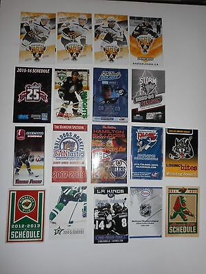 Hockey Pocket Schedules Mixed Lot Of 18 Nhl Ahl Whl Ohl Qmjhl