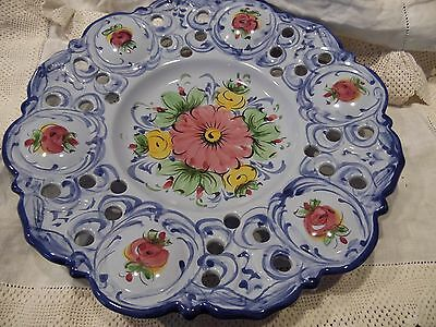 Alcobaca Portugal Hand Painted Floral Blue Plate Wall Hanging Decorative