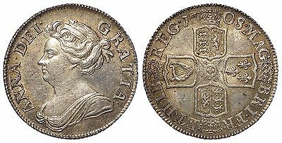 1708  Anne one shilling silver coin