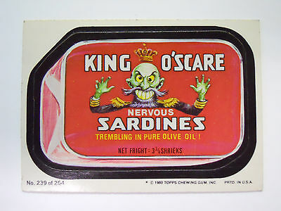 VINTAGE! 1980 Topps Wacky Packages Trading Card #239-King O'scare-Oscar