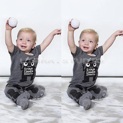 Infant Baby Outfits Monster Print T-shirt +  Pants for 12-18 M Boys Girl Gray