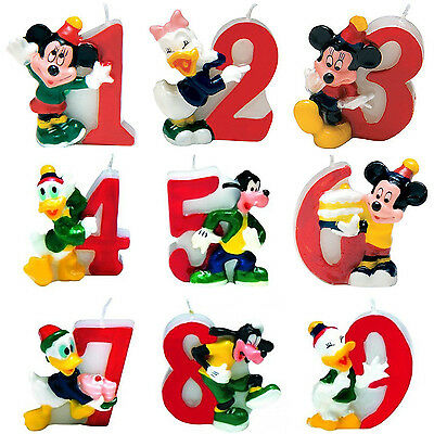 Disney Mickey & Minnie Mouse Birthday Cake Number Candles 1st 2nd 3rd 4th Age