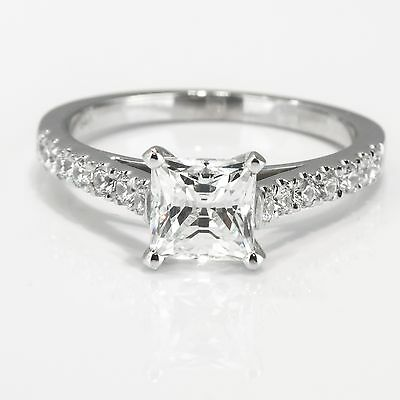D/SI Enhanced Princess Cut Diamond Engagement Ring 1 CT 14K White Gold Solitaire