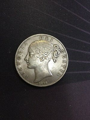 Victoria 1845 Milled Silver Cinquefoil Stops Crown Coin 023382