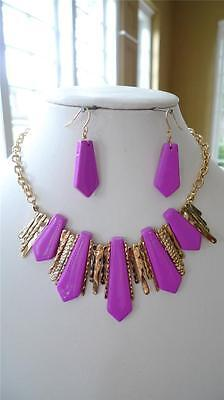 Pink gold charm wedding bridal prom earring necklace set women fashion jewelry
