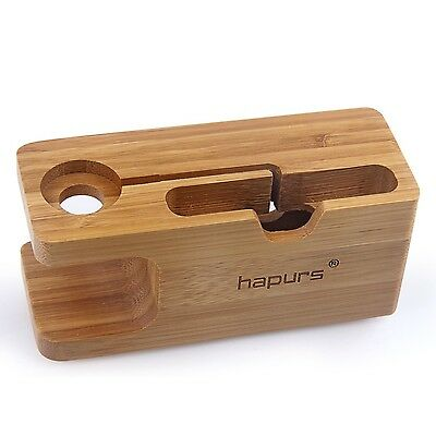 Apple Watch Stand Hapurs iWatch Bamboo Wood Charging Dock Charge Station Stoc...
