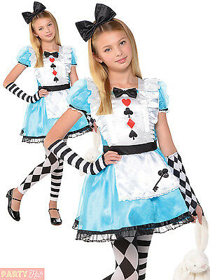 Girls Alice Costume Child Fairytale Fancy Dress Kids World Book Week Day Outfit