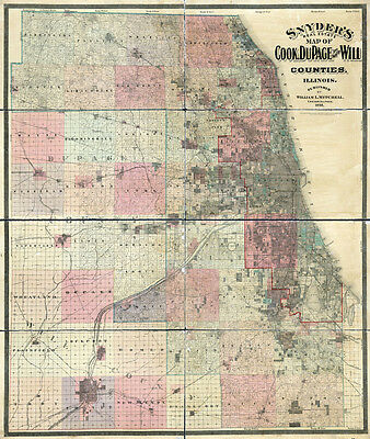 1898 Farm Line Map of Cook and Dupage County Illinois Chicago