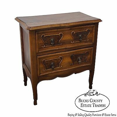 Antique 19th Century Walnut 2 Drawer Commode Chest Nightstand