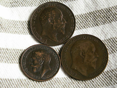 Lot of 3 Great Britain;2 pennies 1907,1908&1/2 penny 1923
