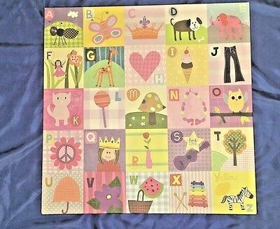 """Oopsy daisy too """"My ABC's Pastels"""" Stretch Canvas by Grainger 21""""x 21"""" Bedroom"""